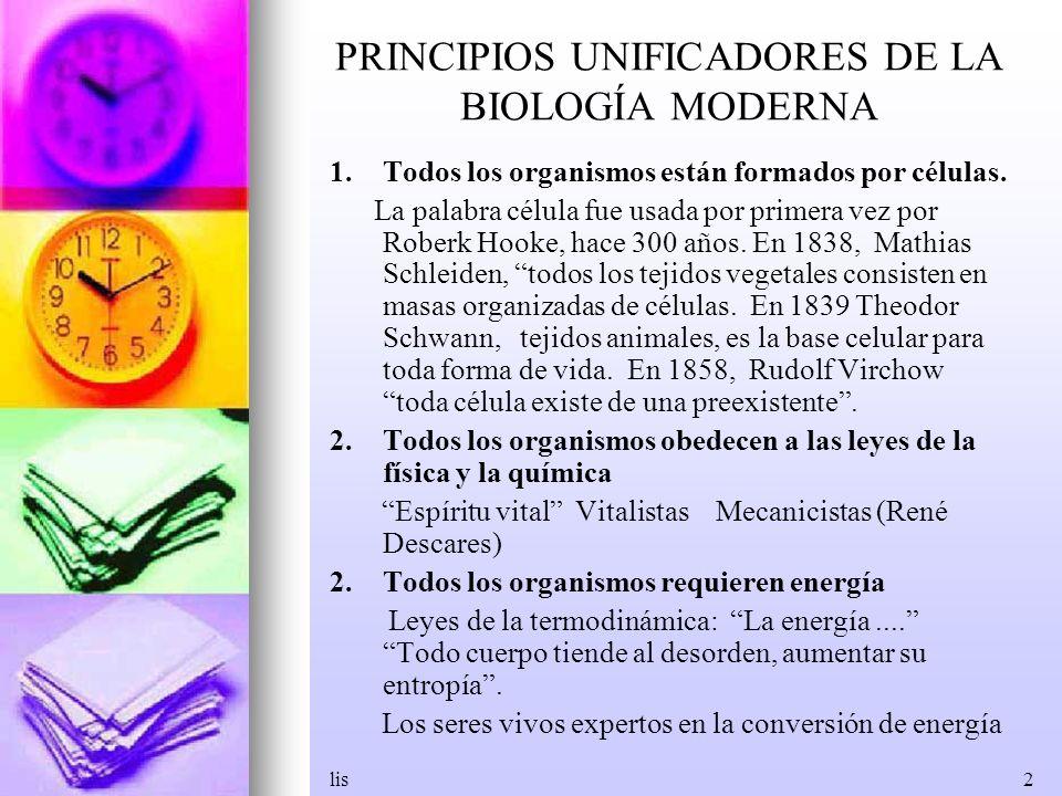 lis2 PRINCIPIOS UNIFICADORES DE LA BIOLOGÍA MODERNA 1.Todos los organismos están formados por células. La palabra célula fue usada por primera vez por