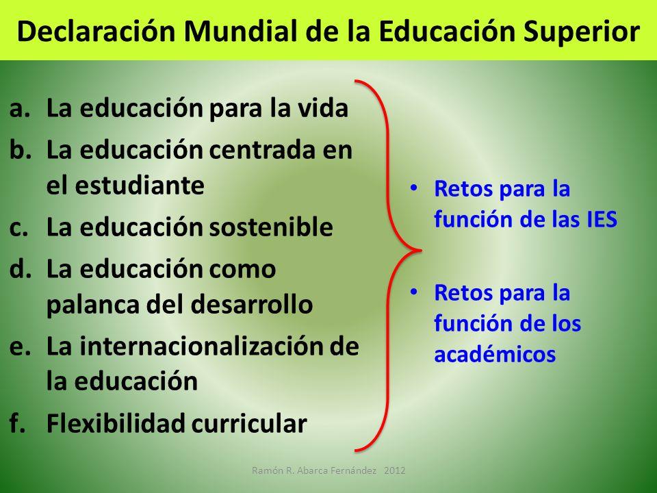 Declaración Mundial de la Educación Superior a.La educación para la vida b.La educación centrada en el estudiante c.La educación sostenible d.La educa
