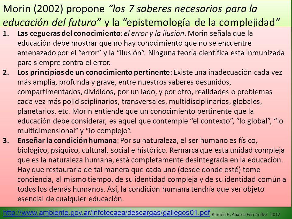 Morin (2002) propone los 7 saberes necesarios para la educación del futuro y la epistemología de la complejidad 1.Las cegueras del conocimiento: el er