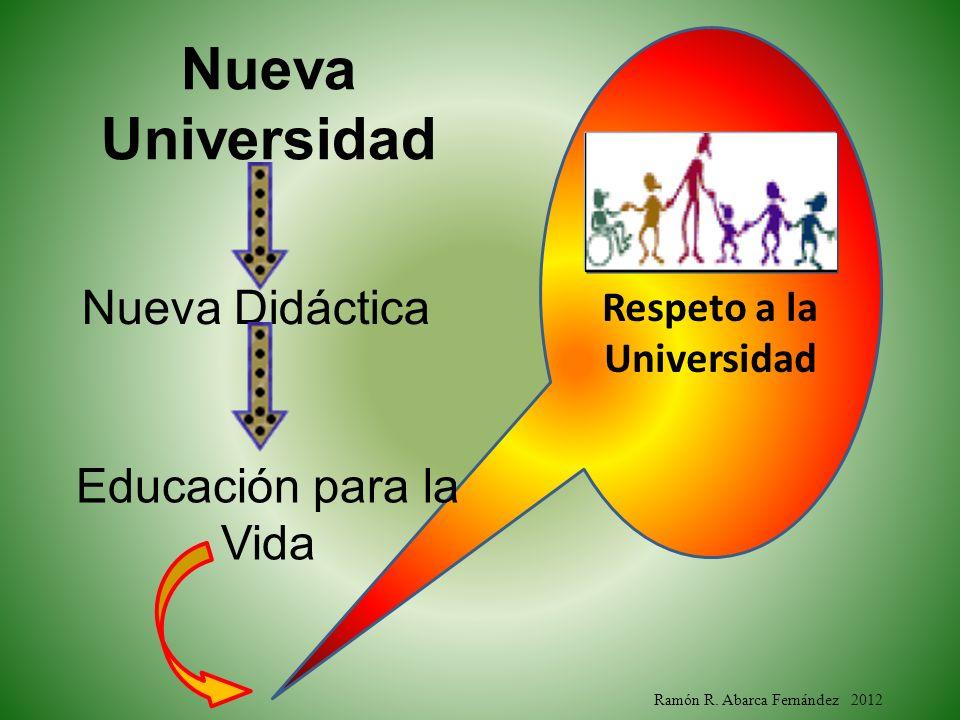 Ramón R. Abarca Fernández 2012 Respeto a la Universidad Nueva Universidad Nueva Didáctica Educación para la Vida