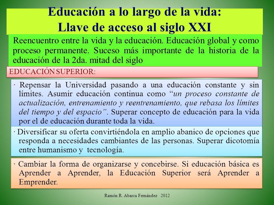 Educación a lo largo de la vida: Llave de acceso al siglo XXI Reencuentro entre la vida y la educación. Educación global y como proceso permanente. Su