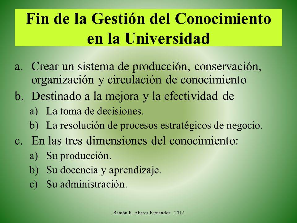 Fin de la Gestión del Conocimiento en la Universidad a.Crear un sistema de producción, conservación, organización y circulación de conocimiento b.Dest