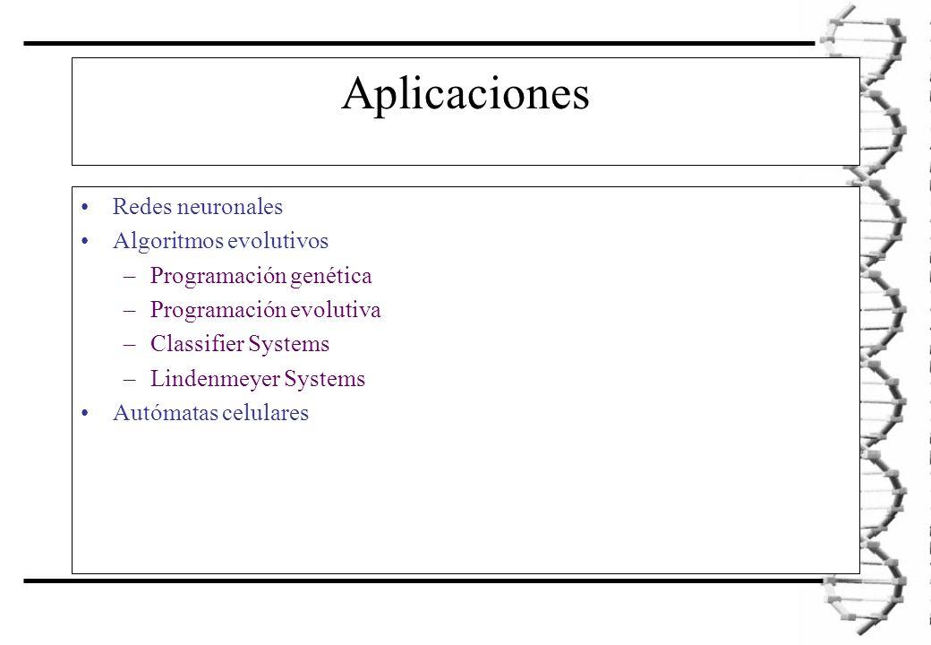 Aplicaciones Redes neuronales Algoritmos evolutivos –Programación genética –Programación evolutiva –Classifier Systems –Lindenmeyer Systems Autómatas celulares