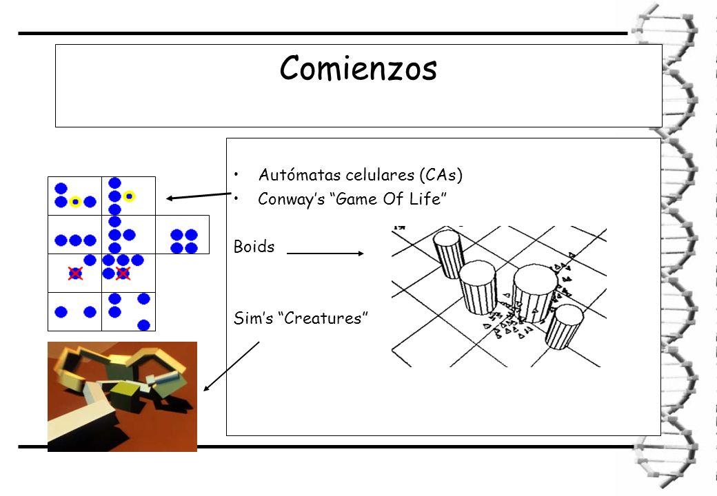 Comienzos Autómatas celulares (CAs) Conways Game Of Life Boids Sims Creatures