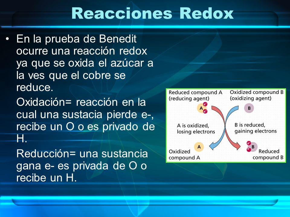 Reacciones Redox En la prueba de Benedit ocurre una reacción redox ya que se oxida el azúcar a la ves que el cobre se reduce. Oxidación= reacción en l