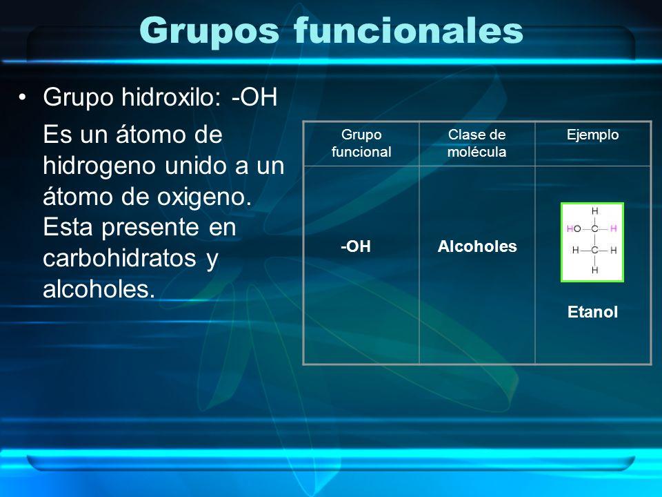 Grupos funcionales Grupo hidroxilo: -OH Es un átomo de hidrogeno unido a un átomo de oxigeno. Esta presente en carbohidratos y alcoholes. Grupo funcio