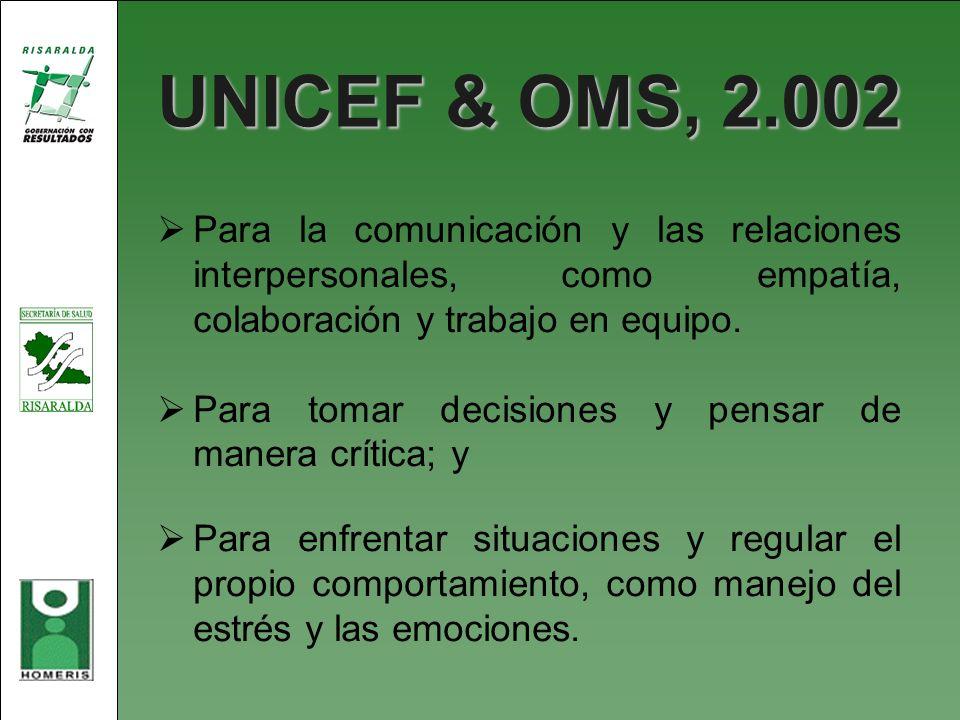 UNICEF & OMS, 2.002 Para la comunicación y las relaciones interpersonales, como empatía, colaboración y trabajo en equipo. Para tomar decisiones y pen