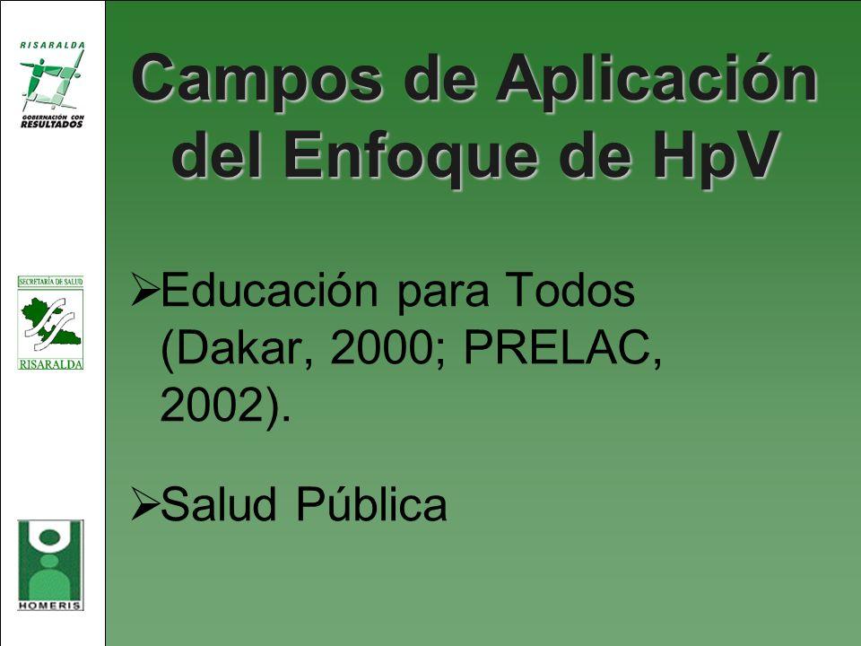 Campos de Aplicación del Enfoque de HpV Educación para Todos (Dakar, 2000; PRELAC, 2002). Salud Pública