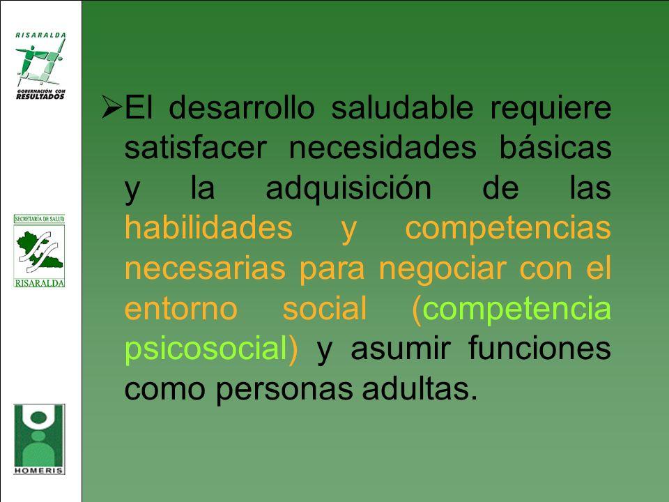 El desarrollo saludable requiere satisfacer necesidades básicas y la adquisición de las habilidades y competencias necesarias para negociar con el ent