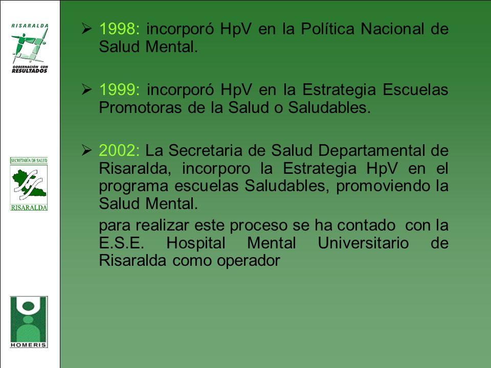 1998: incorporó HpV en la Política Nacional de Salud Mental. 1999: incorporó HpV en la Estrategia Escuelas Promotoras de la Salud o Saludables. 2002: