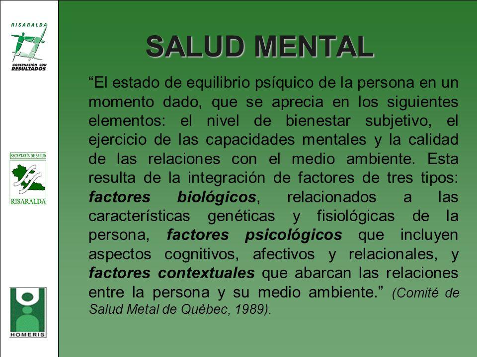 SALUD MENTAL El estado de equilibrio psíquico de la persona en un momento dado, que se aprecia en los siguientes elementos: el nivel de bienestar subj