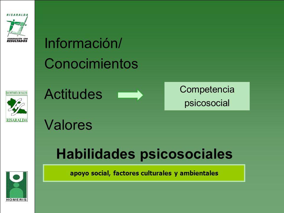 Información/ Conocimientos Actitudes Valores Habilidades psicosociales apoyo social, factores culturales y ambientales Competencia psicosocial