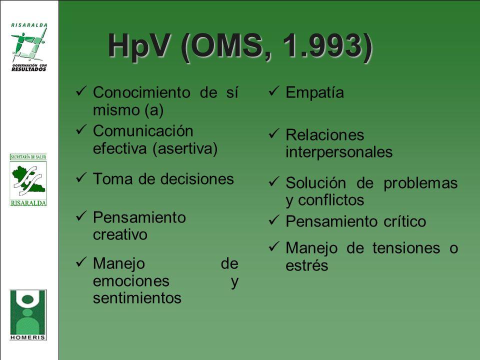 HpV (OMS, 1.993) Conocimiento de sí mismo (a) Comunicación efectiva (asertiva) Toma de decisiones Pensamiento creativo Manejo de emociones y sentimien