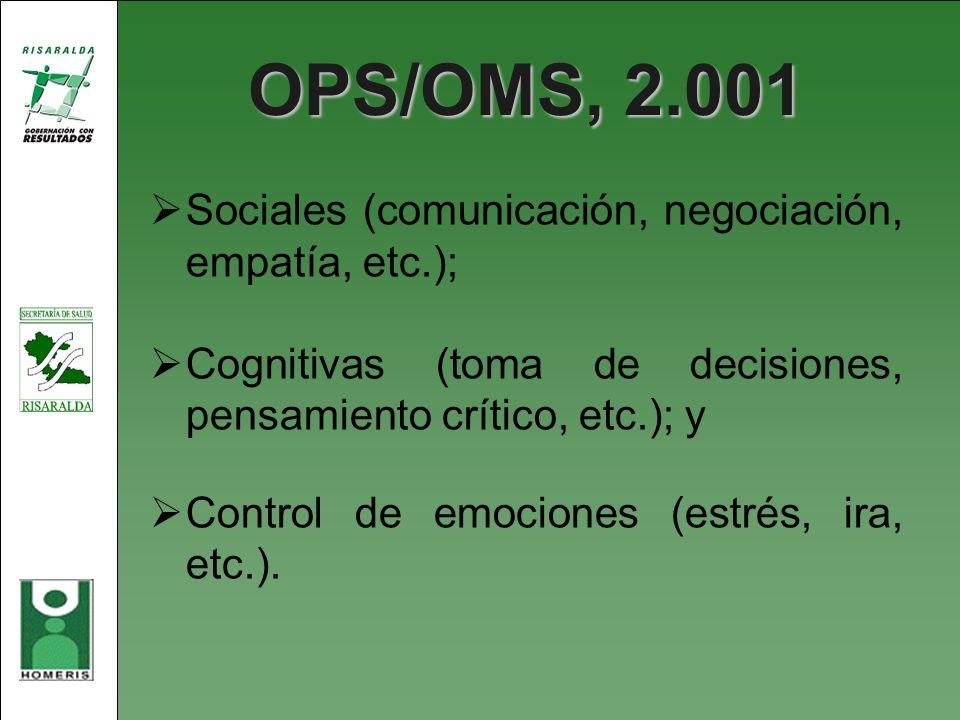 OPS/OMS, 2.001 Sociales (comunicación, negociación, empatía, etc.); Cognitivas (toma de decisiones, pensamiento crítico, etc.); y Control de emociones