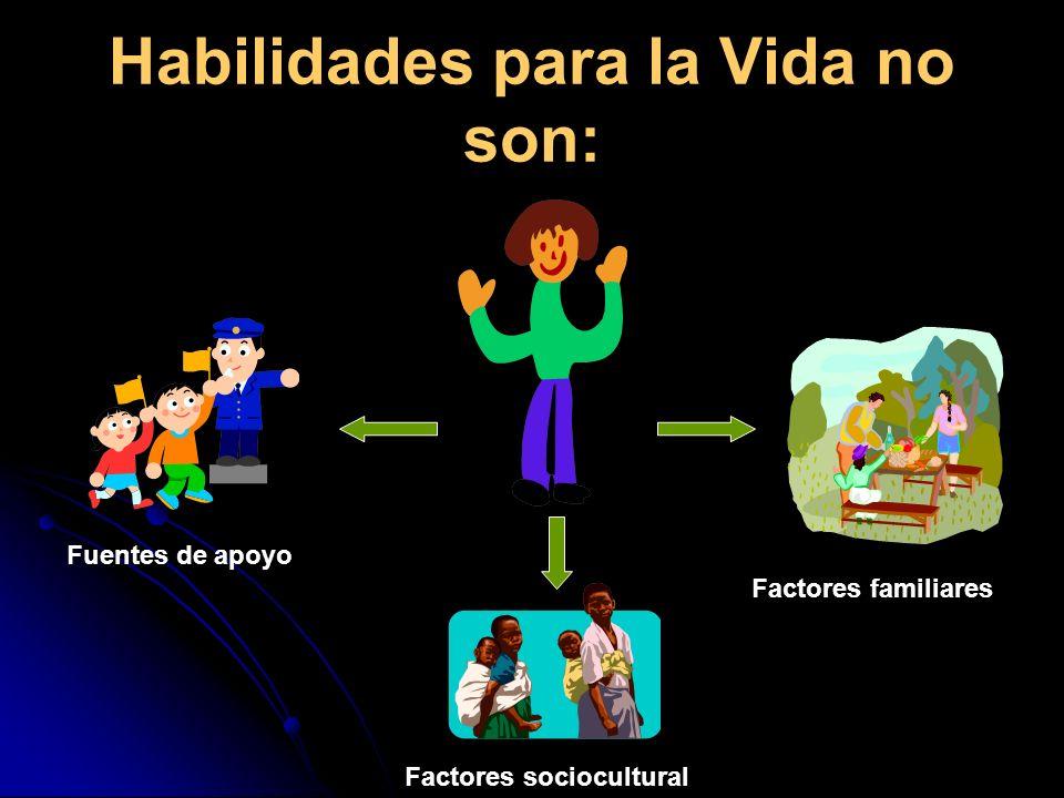 Habilidades para la Vida no son: Fuentes de apoyo Factores sociocultural Factores familiares