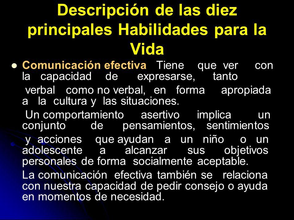 Descripción de las diez principales Habilidades para la Vida Comunicación efectiva Tiene que ver con la capacidad de expresarse, tanto verbal como no
