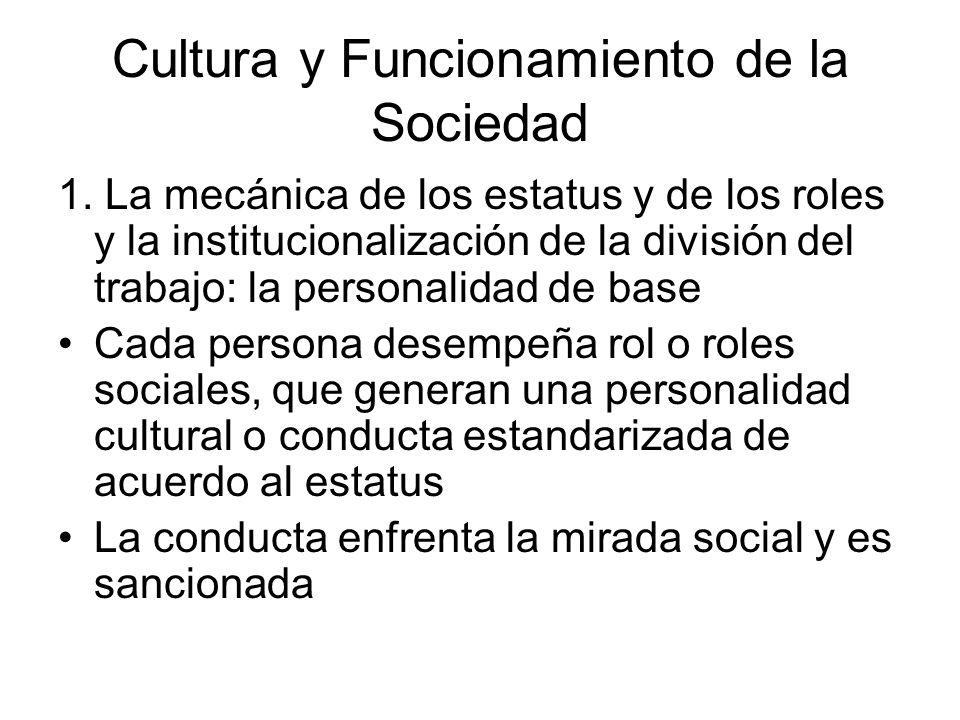 Cultura y Funcionamiento de la Sociedad 1. La mecánica de los estatus y de los roles y la institucionalización de la división del trabajo: la personal