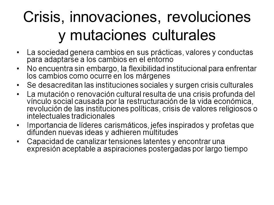 Crisis, innovaciones, revoluciones y mutaciones culturales La sociedad genera cambios en sus prácticas, valores y conductas para adaptarse a los cambi