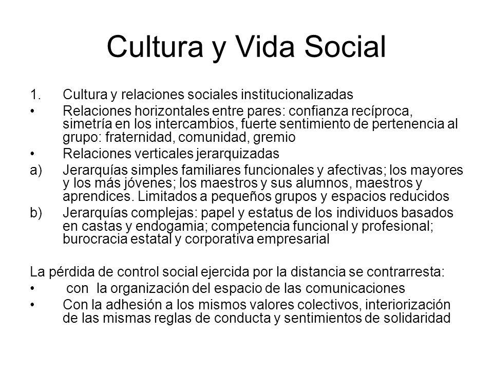 Cultura y Vida Social 1.Cultura y relaciones sociales institucionalizadas Relaciones horizontales entre pares: confianza recíproca, simetría en los in