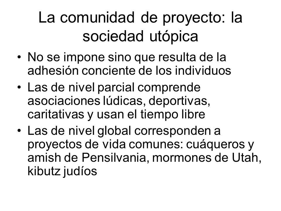 La comunidad de proyecto: la sociedad utópica No se impone sino que resulta de la adhesión conciente de los individuos Las de nivel parcial comprende