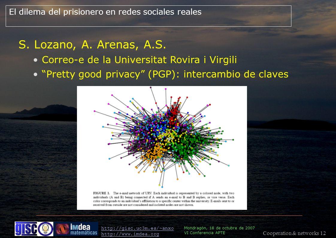 Cooperation & networks 12 Mondragón, 18 de octubre de 2007 VI Conferencia APTE http://gisc.uc3m.es/~anxo http://www.imdea.org El dilema del prisionero en redes sociales reales S.