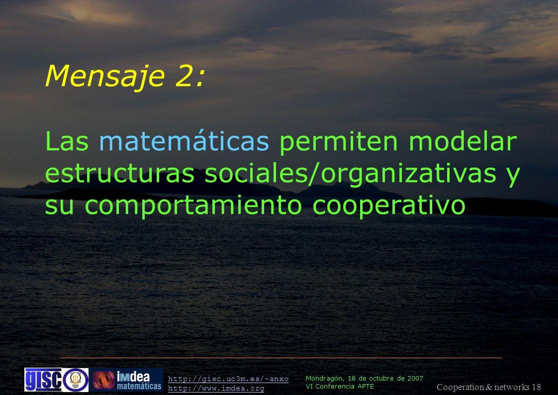 Cooperation & networks 18 Mondragón, 18 de octubre de 2007 VI Conferencia APTE http://gisc.uc3m.es/~anxo http://www.imdea.org Mensaje 2: Las matemáticas permiten modelar estructuras sociales/organizativas y su comportamiento cooperativo