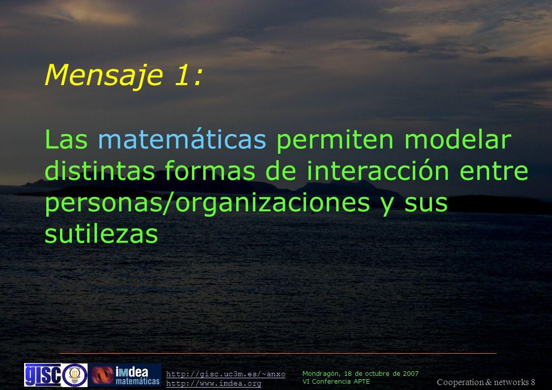 Cooperation & networks 8 Mondragón, 18 de octubre de 2007 VI Conferencia APTE http://gisc.uc3m.es/~anxo http://www.imdea.org Mensaje 1: Las matemáticas permiten modelar distintas formas de interacción entre personas/organizaciones y sus sutilezas
