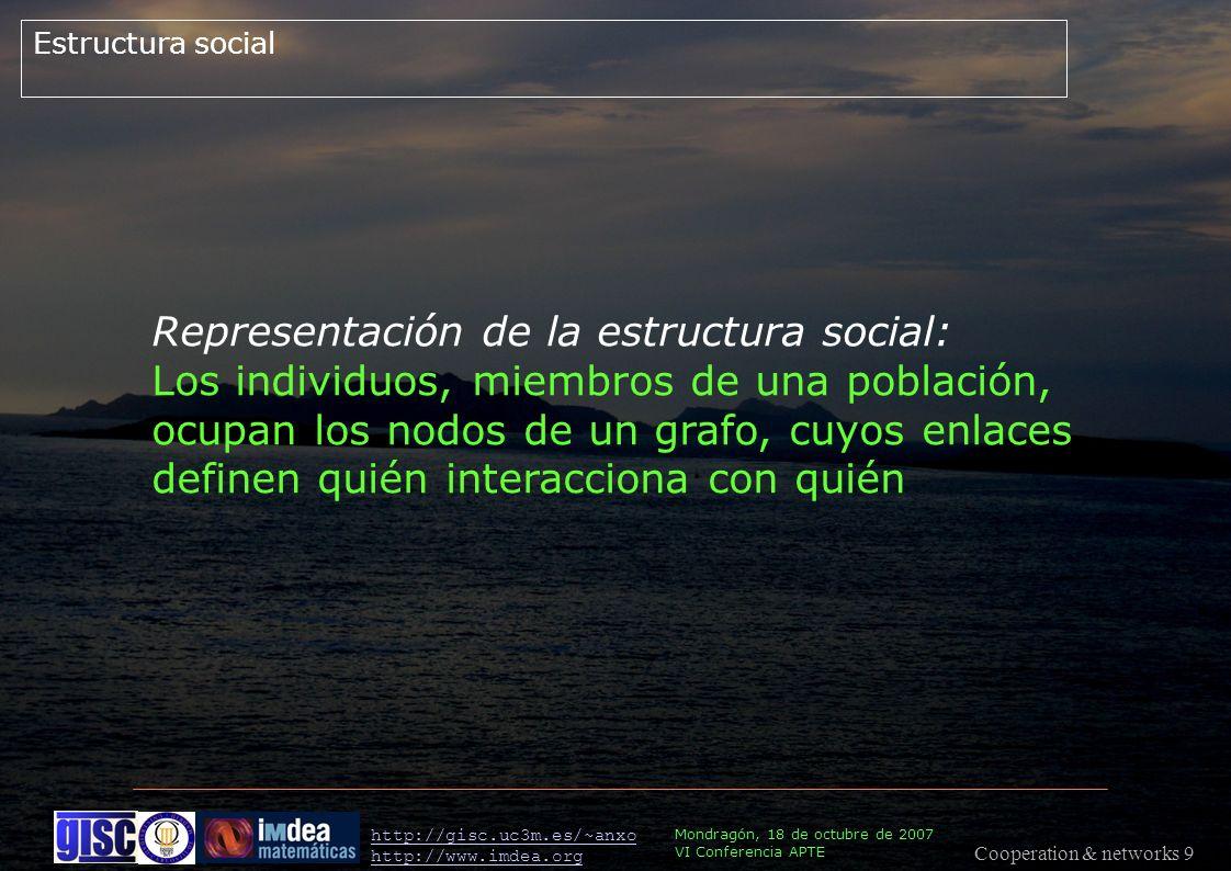 Cooperation & networks 9 Mondragón, 18 de octubre de 2007 VI Conferencia APTE http://gisc.uc3m.es/~anxo http://www.imdea.org Estructura social Representación de la estructura social: Los individuos, miembros de una población, ocupan los nodos de un grafo, cuyos enlaces definen quién interacciona con quién