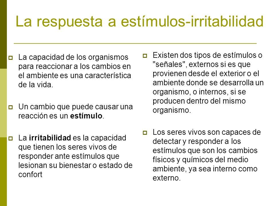 La respuesta a estímulos-irritabilidad La capacidad de los organismos para reaccionar a los cambios en el ambiente es una característica de la vida. U