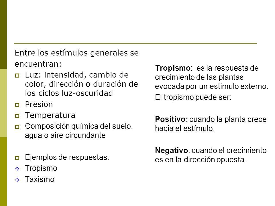 Entre los estímulos generales se encuentran: Luz: intensidad, cambio de color, dirección o duración de los ciclos luz-oscuridad Presión Temperatura Co