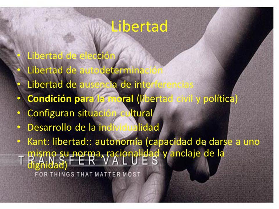 Libertad Libertad de elección Libertad de autodeterminación Libertad de ausencia de interferencias Condición para la moral (libertad civil y política)