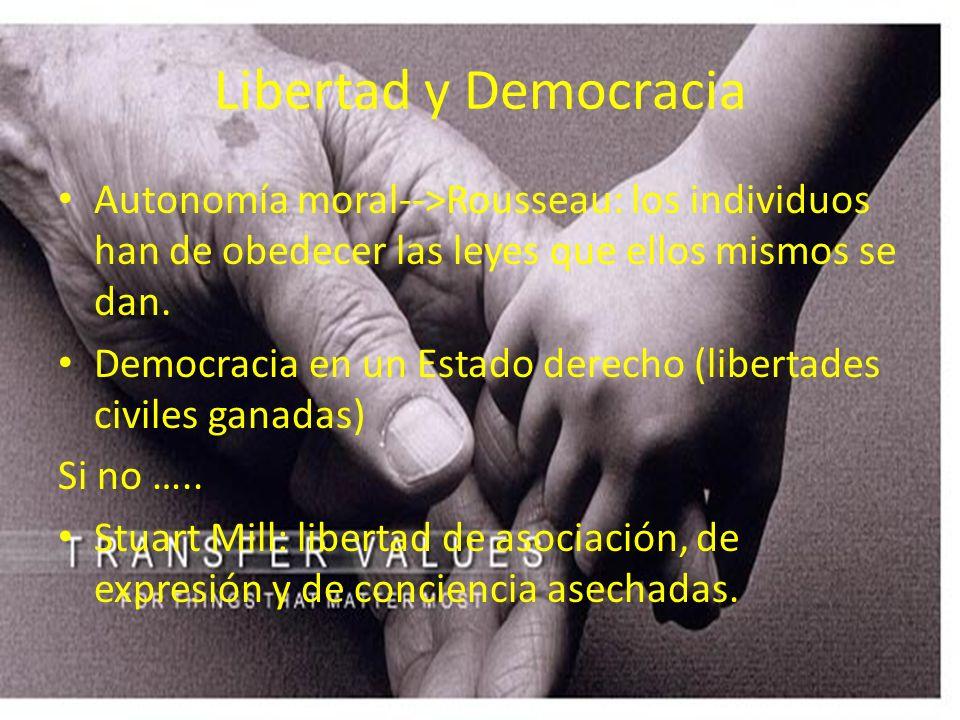 Libertad y Democracia Autonomía moral-->Rousseau: los individuos han de obedecer las leyes que ellos mismos se dan. Democracia en un Estado derecho (l