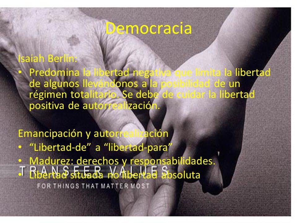 Democracia Isaiah Berlin: Predomina la libertad negativa que limita la libertad de algunos llevándonos a la posibilidad de un régimen totalitario. Se