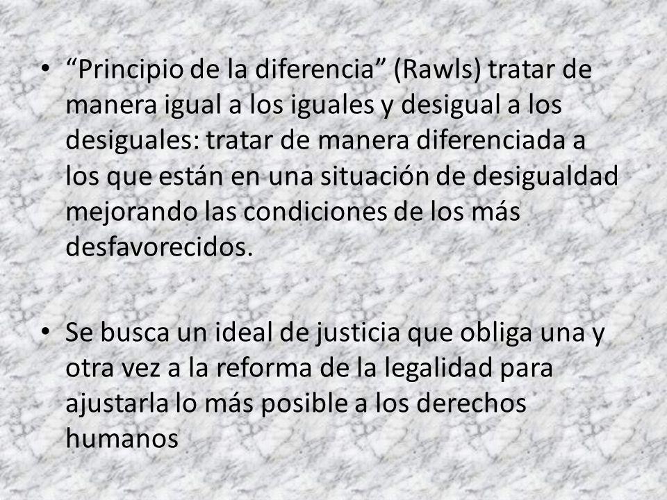 Principio de la diferencia (Rawls) tratar de manera igual a los iguales y desigual a los desiguales: tratar de manera diferenciada a los que están en