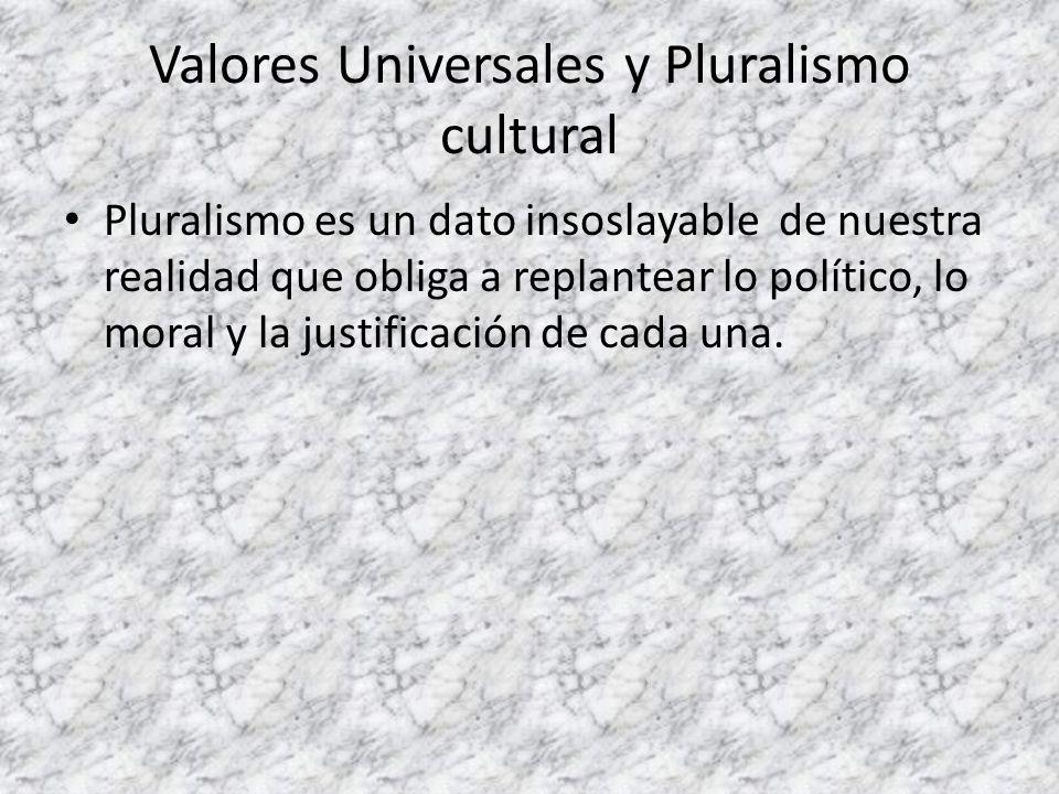 Valores Universales y Pluralismo cultural Pluralismo es un dato insoslayable de nuestra realidad que obliga a replantear lo político, lo moral y la ju