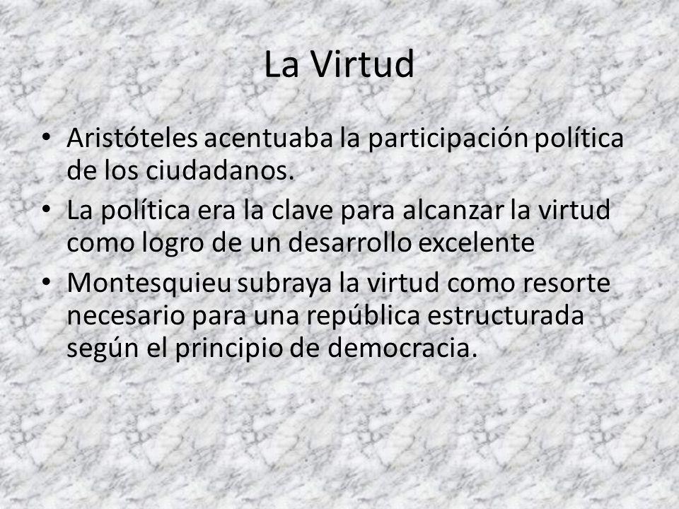 La Virtud Aristóteles acentuaba la participación política de los ciudadanos. La política era la clave para alcanzar la virtud como logro de un desarro