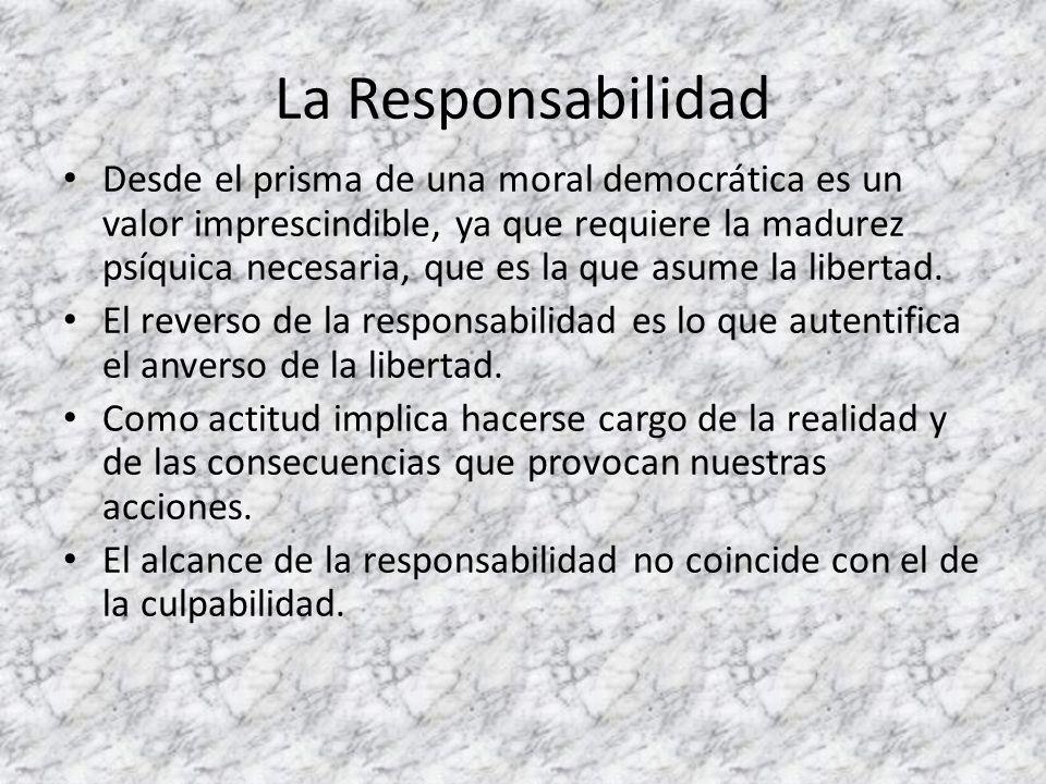 La Responsabilidad Desde el prisma de una moral democrática es un valor imprescindible, ya que requiere la madurez psíquica necesaria, que es la que a