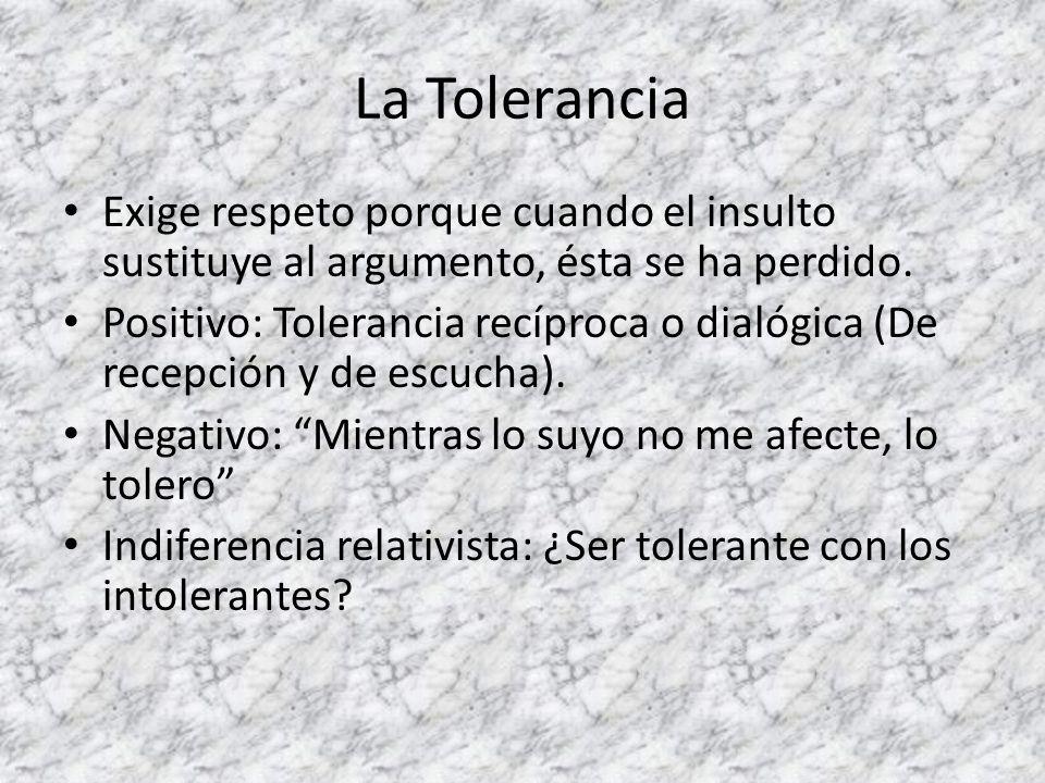 La Tolerancia Exige respeto porque cuando el insulto sustituye al argumento, ésta se ha perdido. Positivo: Tolerancia recíproca o dialógica (De recepc