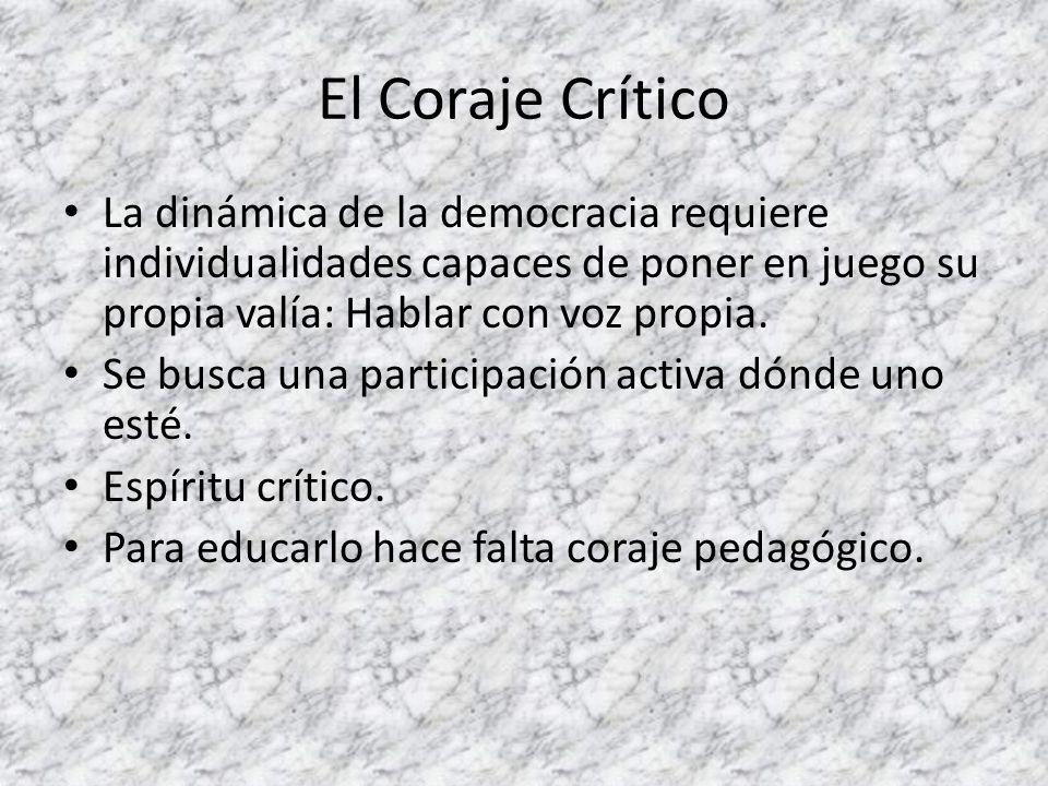 El Coraje Crítico La dinámica de la democracia requiere individualidades capaces de poner en juego su propia valía: Hablar con voz propia. Se busca un