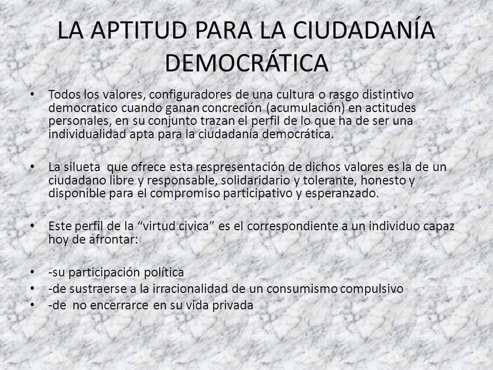 LA APTITUD PARA LA CIUDADANÍA DEMOCRÁTICA Todos los valores, configuradores de una cultura o rasgo distintivo democratico cuando ganan concreción (acu