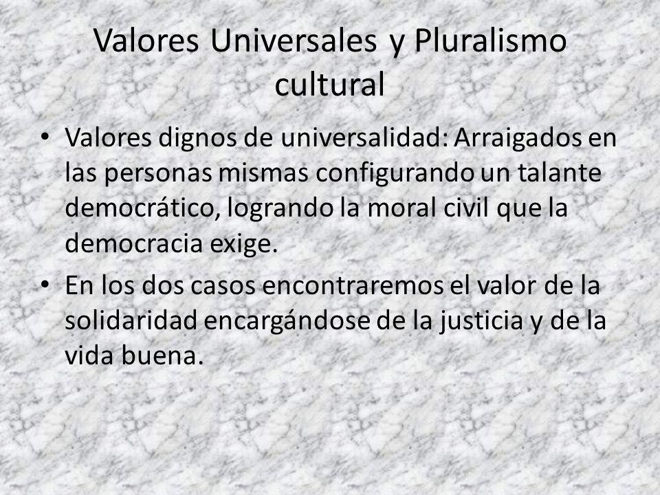 Valores Universales y Pluralismo cultural Valores dignos de universalidad: Arraigados en las personas mismas configurando un talante democrático, logr