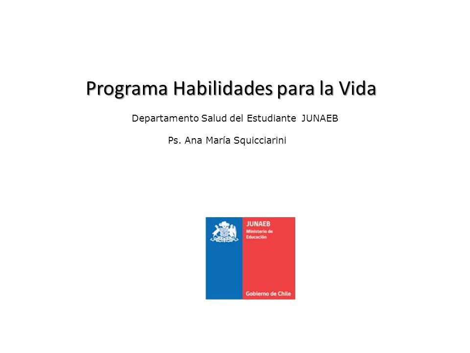 Gobierno de Chile JUNAEB HABILIDADES PARA LA VIDA La matrícula potencial HPV II : 947.687 matrícula para los grados del Programa decir, 5º a 8º E.