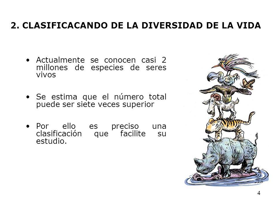 4 2. CLASIFICACANDO DE LA DIVERSIDAD DE LA VIDA Actualmente se conocen casi 2 millones de especies de seres vivos Se estima que el número total puede