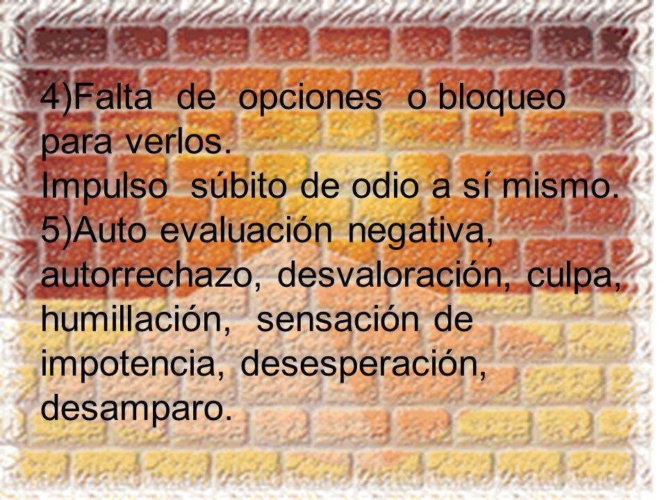 4)Falta de opciones o bloqueo para verlos. Impulso súbito de odio a sí mismo. 5)Auto evaluación negativa, autorrechazo, desvaloración, culpa, humillac