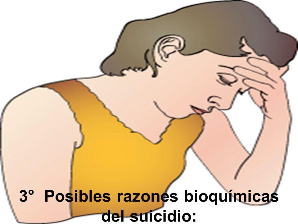 3° Posibles razones bioquímicas del suicidio: