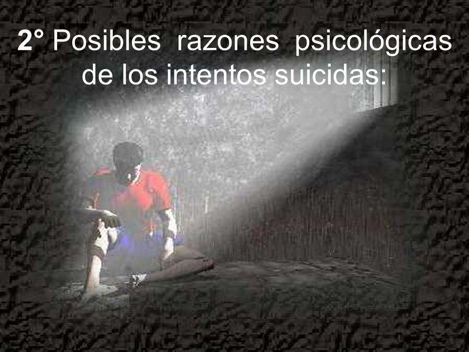 2° Posibles razones psicológicas de los intentos suicidas: