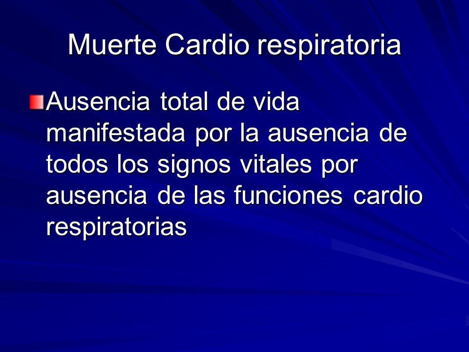Muerte Cardio respiratoria Ausencia total de vida manifestada por la ausencia de todos los signos vitales por ausencia de las funciones cardio respira