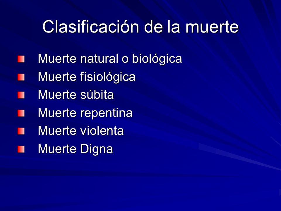 Clasificación de la muerte Muerte natural o biológica Muerte natural o biológica Muerte fisiológica Muerte fisiológica Muerte súbita Muerte súbita Mue