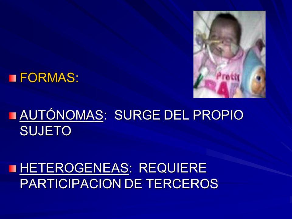 FORMAS: AUTÓNOMAS: SURGE DEL PROPIO SUJETO HETEROGENEAS: REQUIERE PARTICIPACION DE TERCEROS