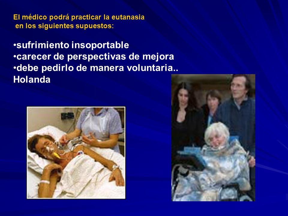 El médico podrá practicar la eutanasia en los siguientes supuestos: sufrimiento insoportable carecer de perspectivas de mejora debe pedirlo de manera